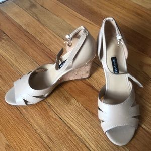 Beige Nine West wedges